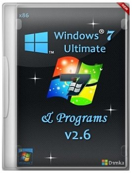Windows 7 Ultimate (32bit) SP1 & Programs v.2.6 by D1mka (2014) Русский