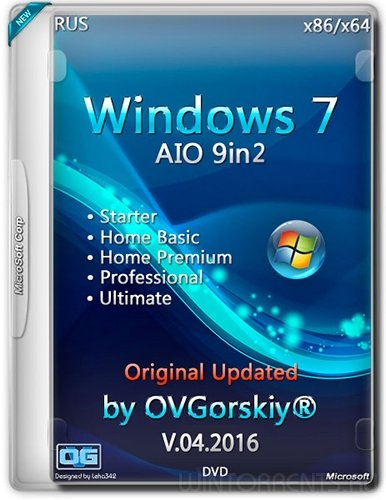 Windows 7 SP1 (x86-x64) Ru 9-in-2 Origin-Upd v.04.16 by OVGorskiy® 2DVD (2016) [Rus]