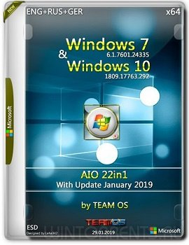 Windows 7-10 AIO 22in1 (x64) Jan 2019 by TeamOS